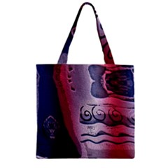 Background Fabric Patterned Blue White And Red Zipper Grocery Tote Bag