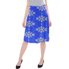 Background For Scrapbooking Or Other Snowflakes Patterns Midi Beach Skirt by Nexatart