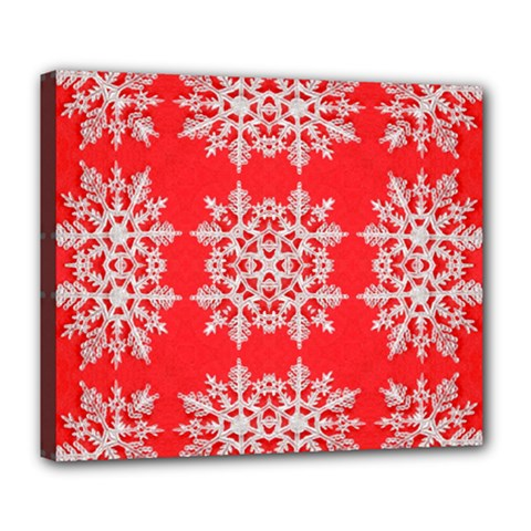 Background For Scrapbooking Or Other Stylized Snowflakes Deluxe Canvas 24  X 20
