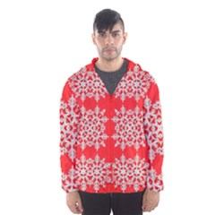 Background For Scrapbooking Or Other Stylized Snowflakes Hooded Wind Breaker (men)
