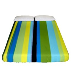 Simple Lines Rainbow Color Blue Green Yellow Black Fitted Sheet (queen Size) by Alisyart