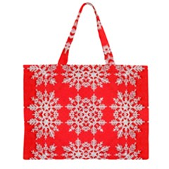Background For Scrapbooking Or Other Stylized Snowflakes Zipper Large Tote Bag by Nexatart