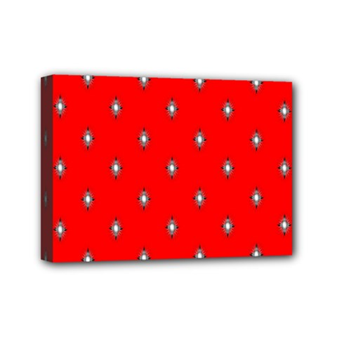 Simple Red Star Light Flower Floral Mini Canvas 7  X 5