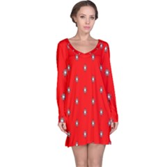 Simple Red Star Light Flower Floral Long Sleeve Nightdress