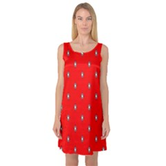 Simple Red Star Light Flower Floral Sleeveless Satin Nightdress