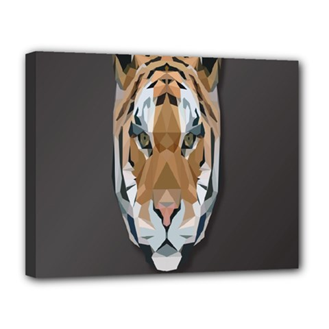 Tiger Face Animals Wild Canvas 14  X 11
