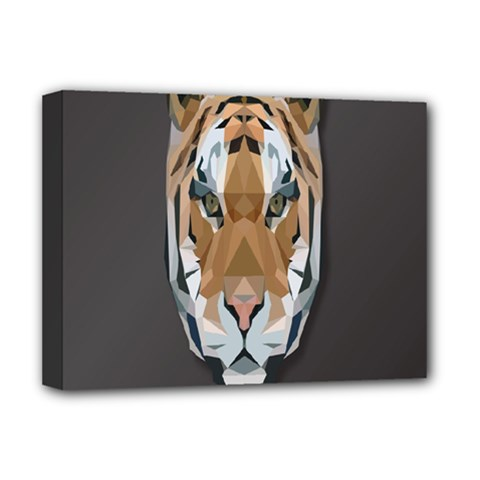 Tiger Face Animals Wild Deluxe Canvas 16  X 12