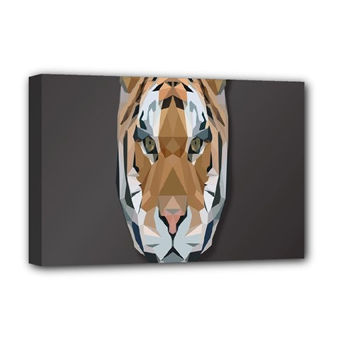 Tiger Face Animals Wild Deluxe Canvas 18  X 12