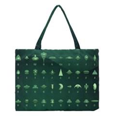 Ufo Alien Green Medium Tote Bag