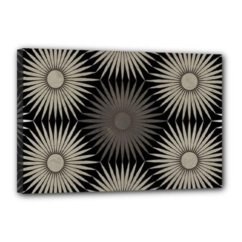 Sunflower Black White Canvas 18  X 12