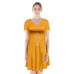 Lime Orange Fruit Fres Short Sleeve V Neck Flare Dress