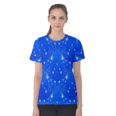Background For Scrapbooking Or Other With Snowflakes Patterns Women s Cotton Tee