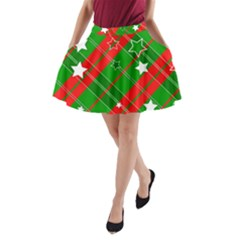 Background Abstract Christmas A Line Pocket Skirt by Nexatart