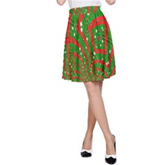 Background Abstract Christmas Pattern A Line Skirt