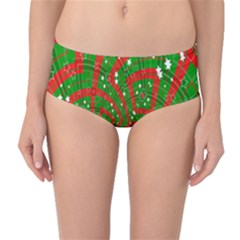 Background Abstract Christmas Pattern Mid Waist Bikini Bottoms