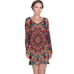 Background Metallizer Pattern Art Long Sleeve Nightdress