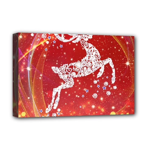 Background Reindeer Christmas Deluxe Canvas 18  X 12