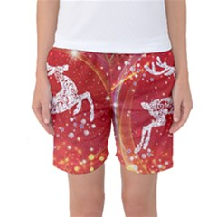 Background Reindeer Christmas Women s Basketball Shorts