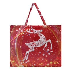 Background Reindeer Christmas Zipper Large Tote Bag by Nexatart