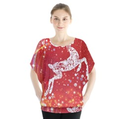 Background Reindeer Christmas Blouse by Nexatart