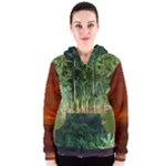 Green water and green trees and sunset Women s Zipper Hoodie