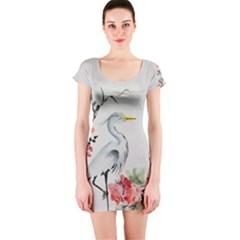 Background Scrapbook Paper Asian Short Sleeve Bodycon Dress by Nexatart