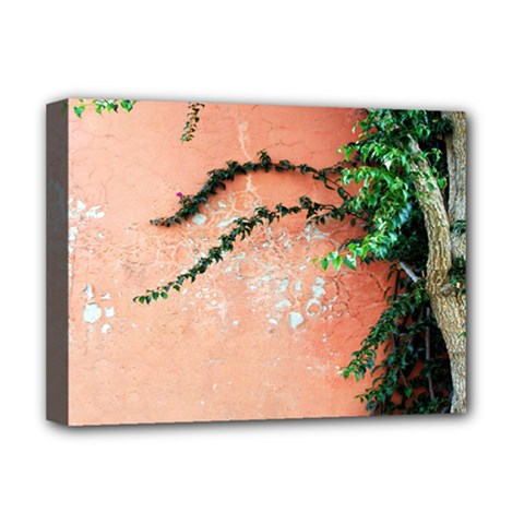 Background Stone Wall Pink Tree Deluxe Canvas 16  X 12   by Nexatart