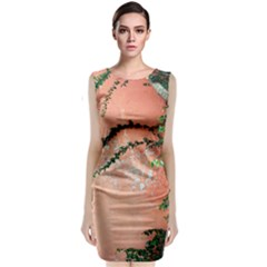 Background Stone Wall Pink Tree Classic Sleeveless Midi Dress