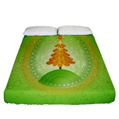 Beautiful Christmas Tree Design Fitted Sheet (queen Size) by Nexatart