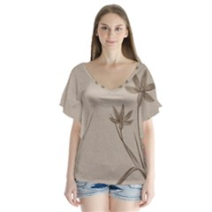Background Vintage Drawing Sepia Flutter Sleeve Top by Nexatart