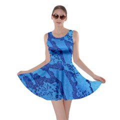 Background Tissu Fleur Bleu Skater Dress