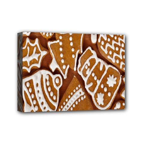 Biscuit Brown Christmas Cookie Mini Canvas 7  X 5