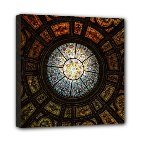 Black And Borwn Stained Glass Dome Roof Mini Canvas 8  X 8