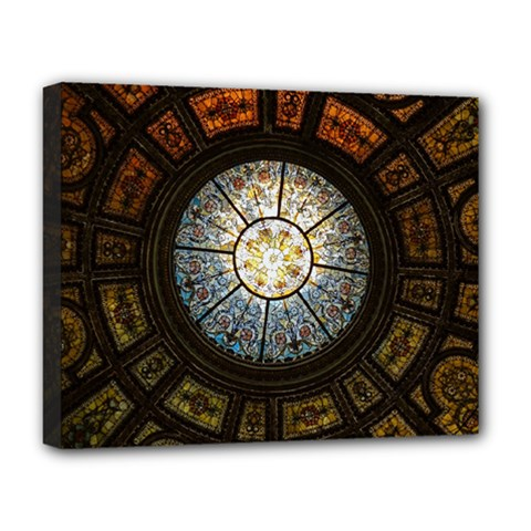 Black And Borwn Stained Glass Dome Roof Deluxe Canvas 20  X 16   by Nexatart