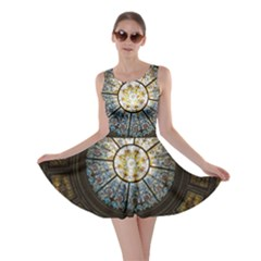 Black And Borwn Stained Glass Dome Roof Skater Dress