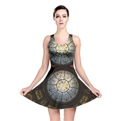 Black And Borwn Stained Glass Dome Roof Reversible Skater Dress by Nexatart