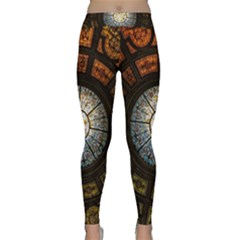 Black And Borwn Stained Glass Dome Roof Classic Yoga Leggings by Nexatart