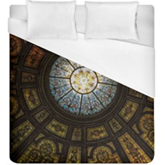 Black And Borwn Stained Glass Dome Roof Duvet Cover (king Size) by Nexatart
