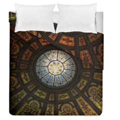 Black And Borwn Stained Glass Dome Roof Duvet Cover Double Side (queen Size) by Nexatart