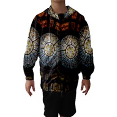 Black And Borwn Stained Glass Dome Roof Hooded Wind Breaker (kids) by Nexatart