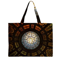 Black And Borwn Stained Glass Dome Roof Zipper Large Tote Bag by Nexatart