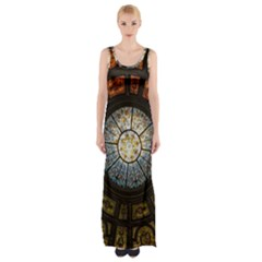 Black And Borwn Stained Glass Dome Roof Maxi Thigh Split Dress by Nexatart