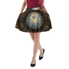 Black And Borwn Stained Glass Dome Roof A Line Pocket Skirt by Nexatart