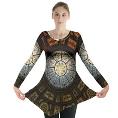Black And Borwn Stained Glass Dome Roof Long Sleeve Tunic  by Nexatart