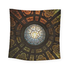Black And Borwn Stained Glass Dome Roof Square Tapestry (small) by Nexatart