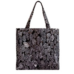 Black And White Art Pattern Historical Zipper Grocery Tote Bag by Nexatart