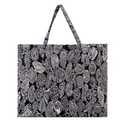 Black And White Art Pattern Historical Zipper Large Tote Bag by Nexatart
