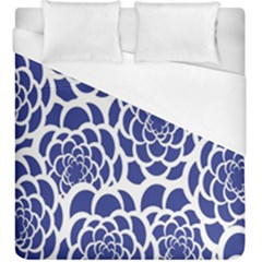 Blue And White Flower Background Duvet Cover (king Size) by Nexatart