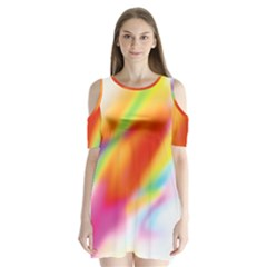 Blur Color Colorful Background Shoulder Cutout Velvet  One Piece by Nexatart