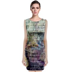Brick Of Walls With Color Patterns Classic Sleeveless Midi Dress